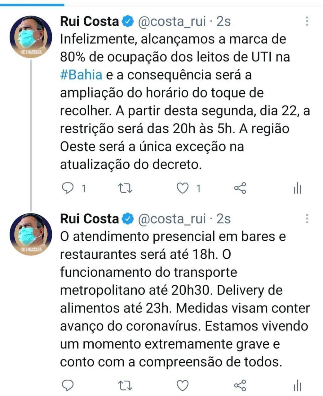 Twitter de Rui Costa: 80% de ocupação das UTI's na Bahia